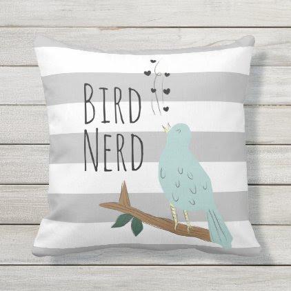 Bird Nerd Striped Outdoor Pillow