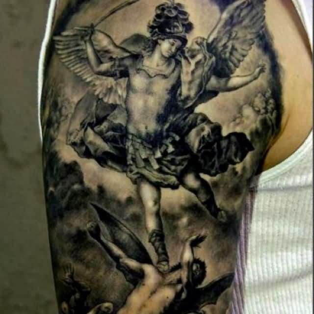 Angel Vs Demon Tattoo On Right Half Sleeve