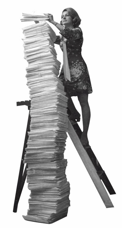 Woman climbing ladder to top of stack of papers