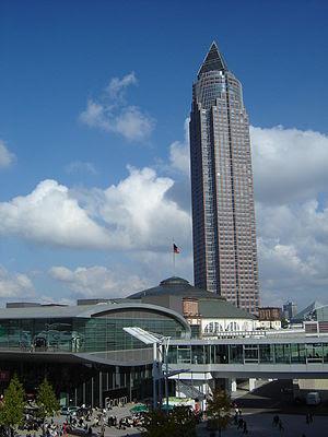 The Frankfurt Book Fair with the fair's tower ...