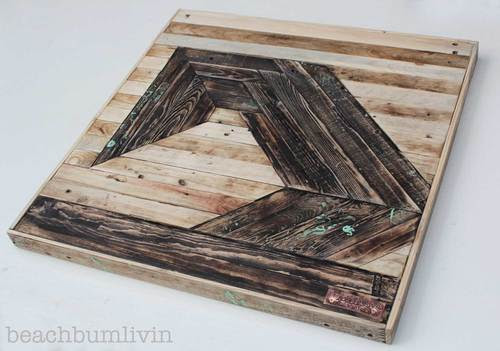 Recycled Pallet Wood Art - 'Futuristic Wave'