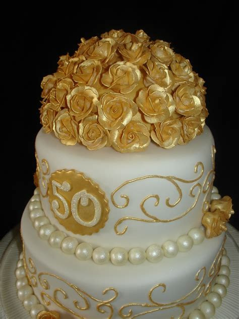 Golden (50Th) Wedding Anniversary Fondant Cake