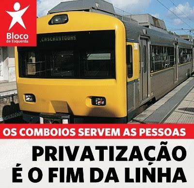 Bloco em acção de protesto contra privatização da CP