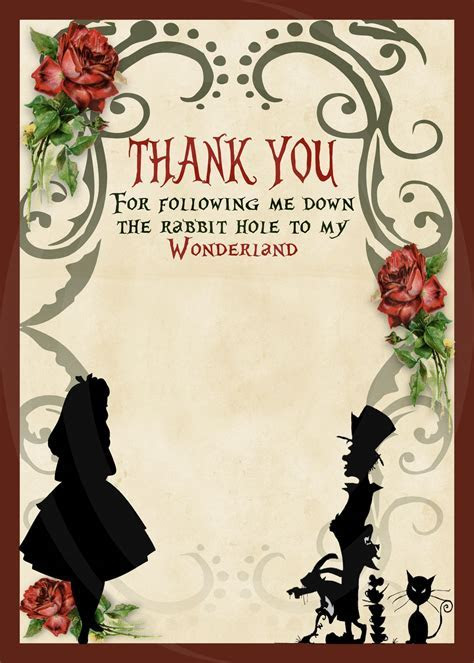 Alice in Wonderland Birthday Party Invitation   Silhouette
