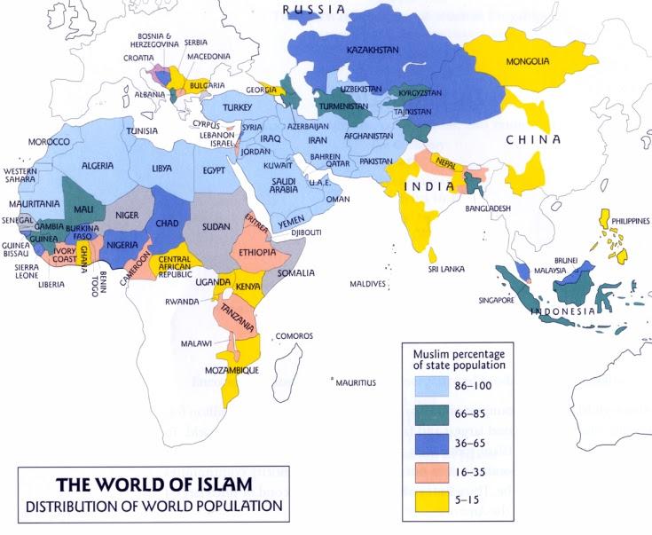 Mapa de importantes poblaciones musulmanas del mundo