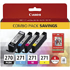 Canon PGI 270/CLI-271 Combo Pack Ink tank / paper kit, Magenta/Cyan/Pigmented Black/Yellow - 4-pack