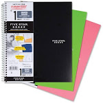 Five Star Wirebound 1 Subject Notebooks, Assorted Colors - 100 Sheets