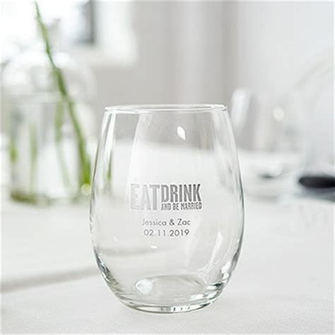 Small Personalised Stemless Wine Glass   Weddingstar