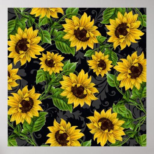 Vintage sunflower pattern print   Zazzle