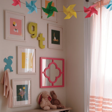 Kids Banners & Hanging Decor: Kids Vintage Craft Paper Patterened Letters Wall Decor - A