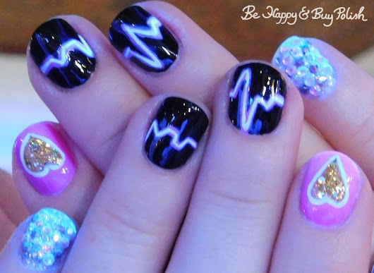 Heartbeat skittlette manicure with L.A. Colors, Sinful Colors, Cult Nails, P.O.P Polish