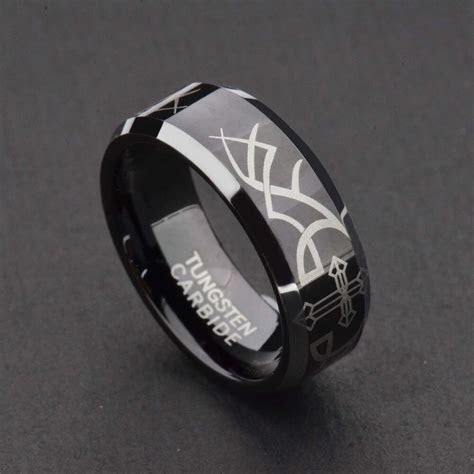 8mm Tungsten Black Mirror Top Bevel Edge Christian Cross