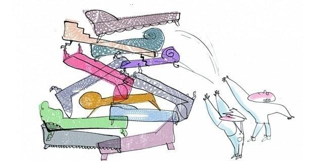 """Feu sur la psychanalyse (Illustration de Serge Bloch pour """"le Nouvel Observateur"""")"""