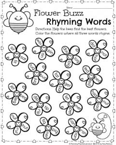 Kindergarten Worksheets for February Valentines Day theme Flower Buzz Rhyming Words activity