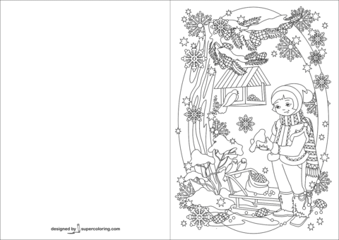 girl is feeding birds in winter card coloring page  free printable coloring pages