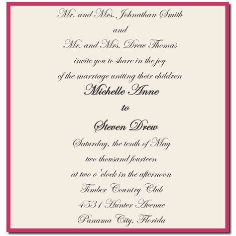 Wedding Invitation Wording Both Parents ? Giant Design