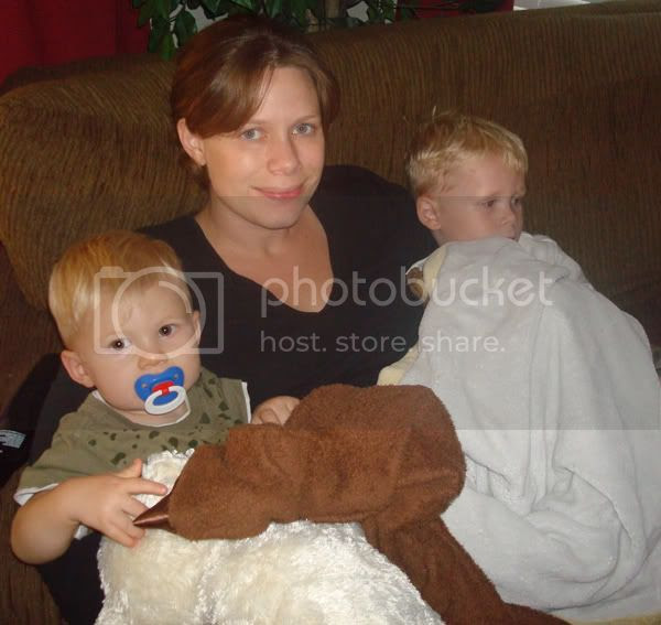 Cuddling on the couch with the kids