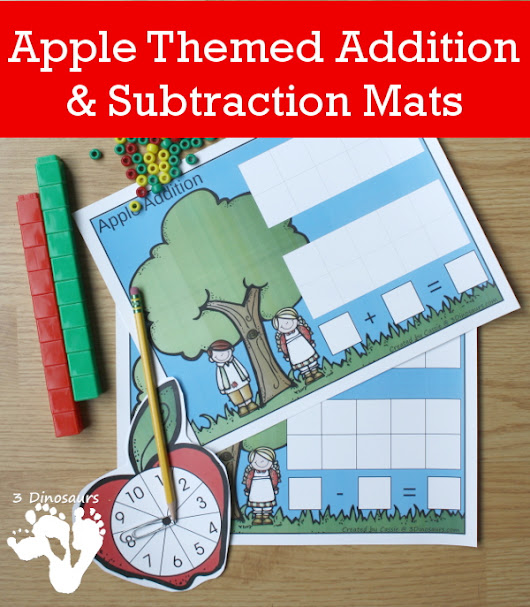 Apple Themed Addition & Subtraction Mats | 3 Dinosaurs