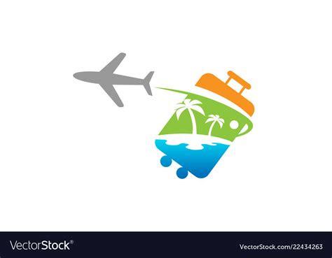 bag travel airplane creative air design logo vector image