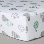 Crib Fitted Sheet Hot Air Balloons - Cloud Island Gray, Gray White Green