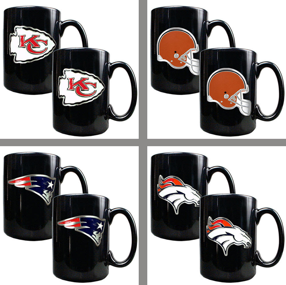 Choose Your NFL Team Primary Logo 2PC 15oz Black Ceramic Coffee Mug Set  2 Mugs  eBay