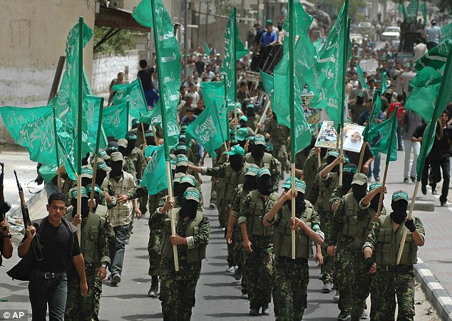 A Hamas demonstration in Palestine. Nabil Samara, a headteacher, said: 'If I am teaching students about the love of Palestine, I have to teach them about the importance of resisting the occupation'