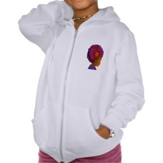 Multi-Cultural Afro Silhouette Girls Hoodie