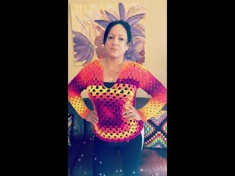 فيديو شرح طريقة عمل بلوزة من مربع الجرانى نسائي سهل بالخطوات كروشية Crochet granny square sweater كروشيه