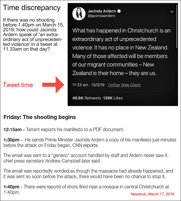 Jacinda jumps the gun - tweets about shooting at 11.33am