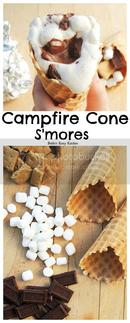 Campfire Cone S'mores - A fun way to enjoy your favorite campfire treat! From www.bobbiskozykitchen.com