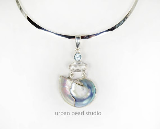 Blue Mabe Pearl Nautilus Shell Pendant Bridesmaid Necklace