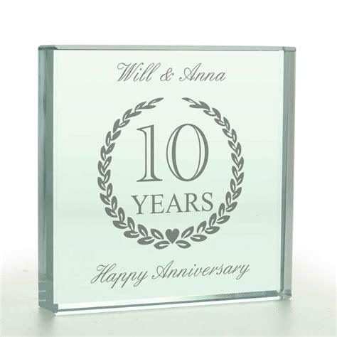 Personalised Wedding Anniversary Glass Token   Any Year
