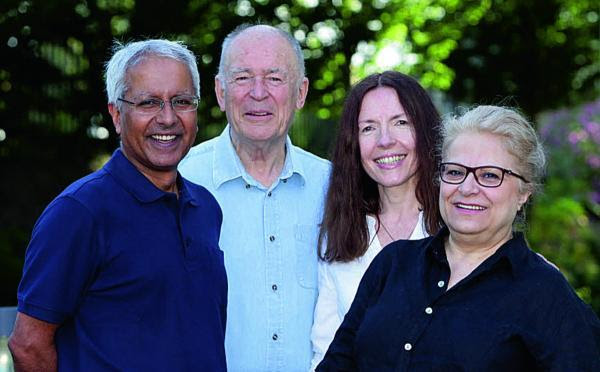 Oxford Mail: Dennis Hamley, second left, with colleagues from left, Kamal Lathar, Frauke Woenig and Cherry Mosteshar, who are starting a new publishing business