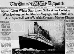 Titanic newspaper headline in The Times Dispatch