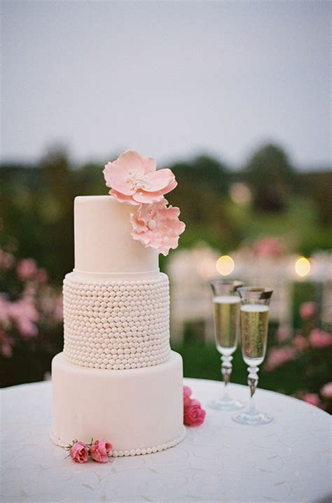 Three Tier Wedding Cake With Pink Sugar Flowers