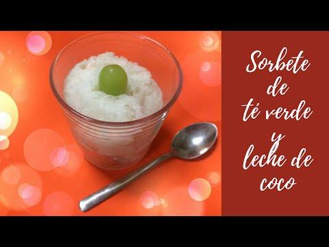 Sorbete de té verde y leche de coco - ¡Refrescante!