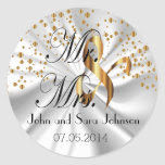 Gold Wedding for the Mr & Mrs | Personalize Classic Round Sticker