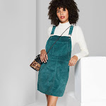 Women's Square Neck Corduroy Pinafore Mini Dress - Wild Fable Zenith Teal