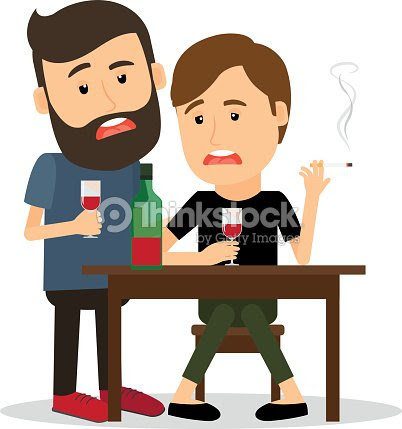 Drunk Men At The Table Vector Art Thinkstock