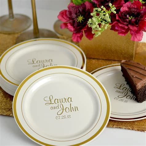 7 In. Gold Trim Plastic Dessert Plates Personalized   My