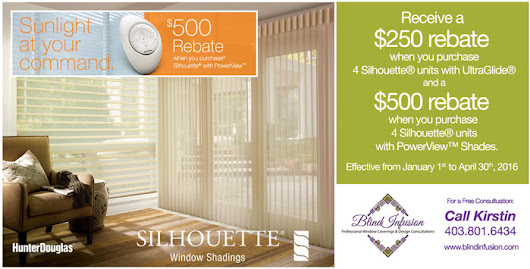 Receive up to a $500 rebate on Hunter Douglas Silhouette Blinds in Calgary, Cochrane & Area - Blind Infusion
