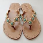 Mystique Cabochons Gold Turquoise Sandals