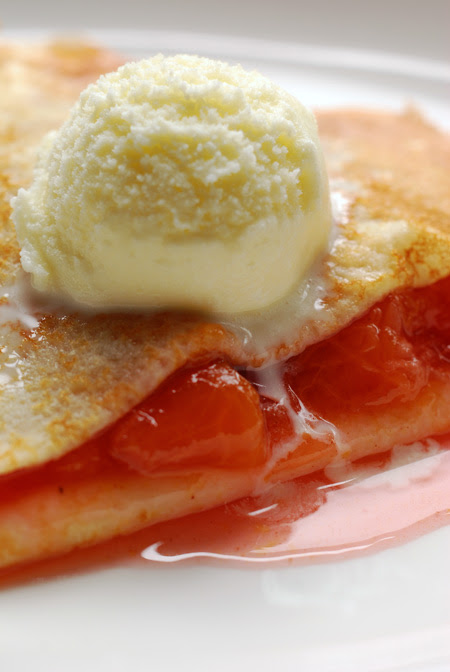 Crêpes with stewed Plums and Milk Ice Cream