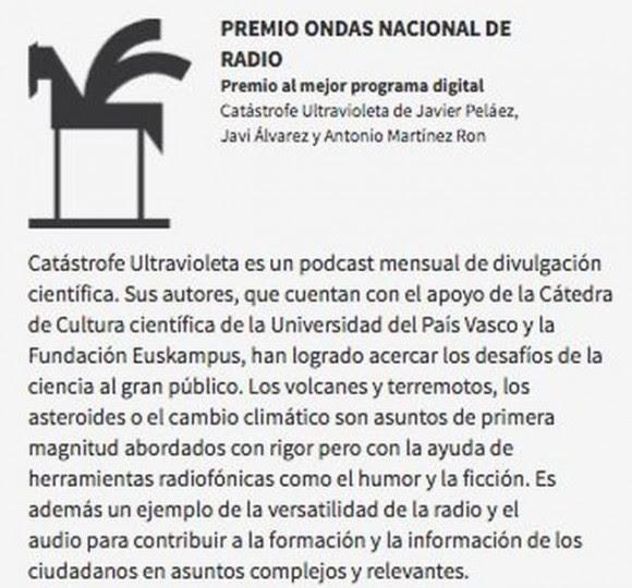Catástrofe Ultravioleta, Premio Ondas 2017 al mejor programa de radio digital