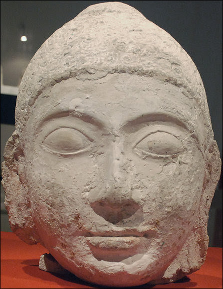 A head of Buddha in display at the national museum of Maldives