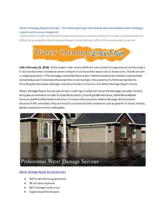Water Damage Repair Encino –For when quick, professional and convenie…