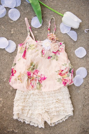 Girls Lacy Rose Bubble Top & Short Set<br>12 Months to 6X<BR>Now in Stock