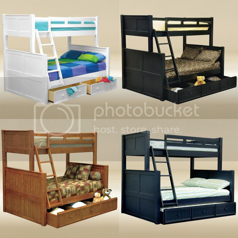 Cottage Black Blue White Pecan Walnut Birch Wood Twin over Full Bunk Bed Trundle  eBay