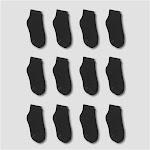 Hanes Boys' 12pk Cushioned Ankle Socks - Black