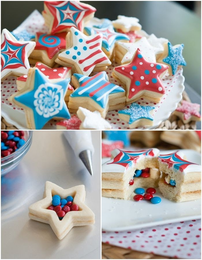 M&Ms Inside-Patriotic Star Cookies > so fun for the 4th of July!
